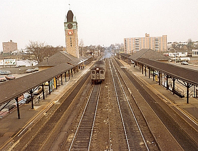 CNJ Budd cars eastbound at Elizabeth, NJ